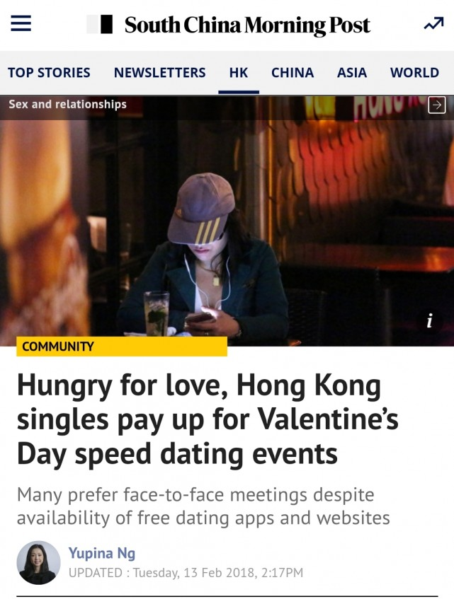 Speed Dating 傳媒報導: SCMP : Hungry for love, Hong Kong singles pay up for Valentine's Day speed dating events